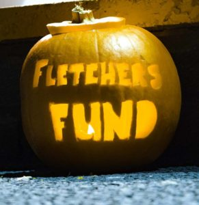 Picture of Pumpkin with 'Fletcher's Fund' carved into it